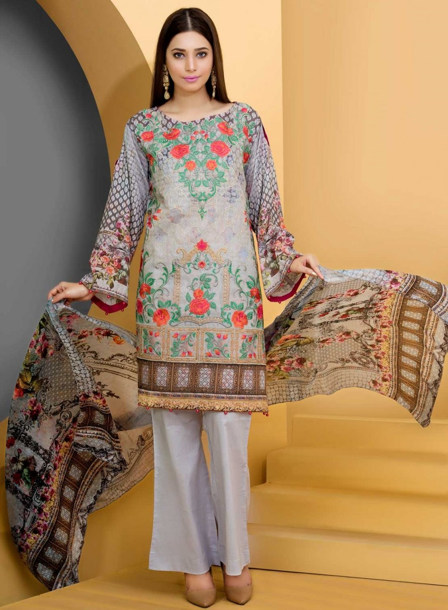 Grey Floral embroidered Eid dress for women