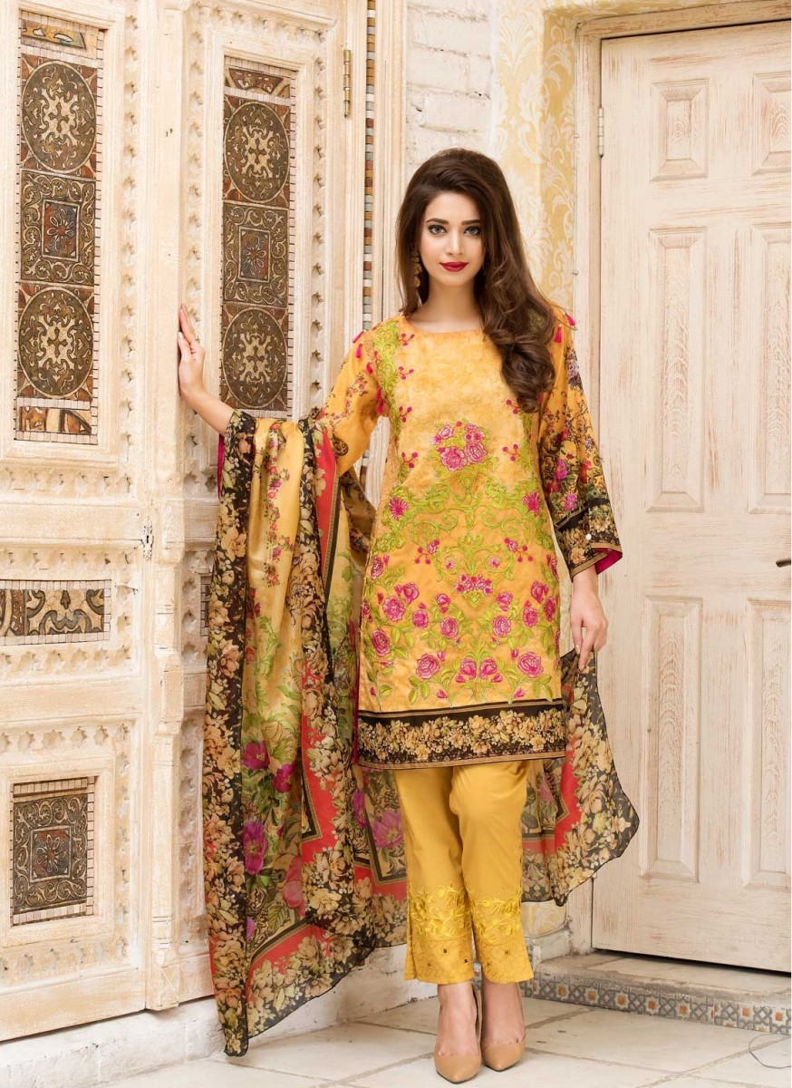 Warda Inglorious Beauty embroidered Eid dress in Indian Yellow Color