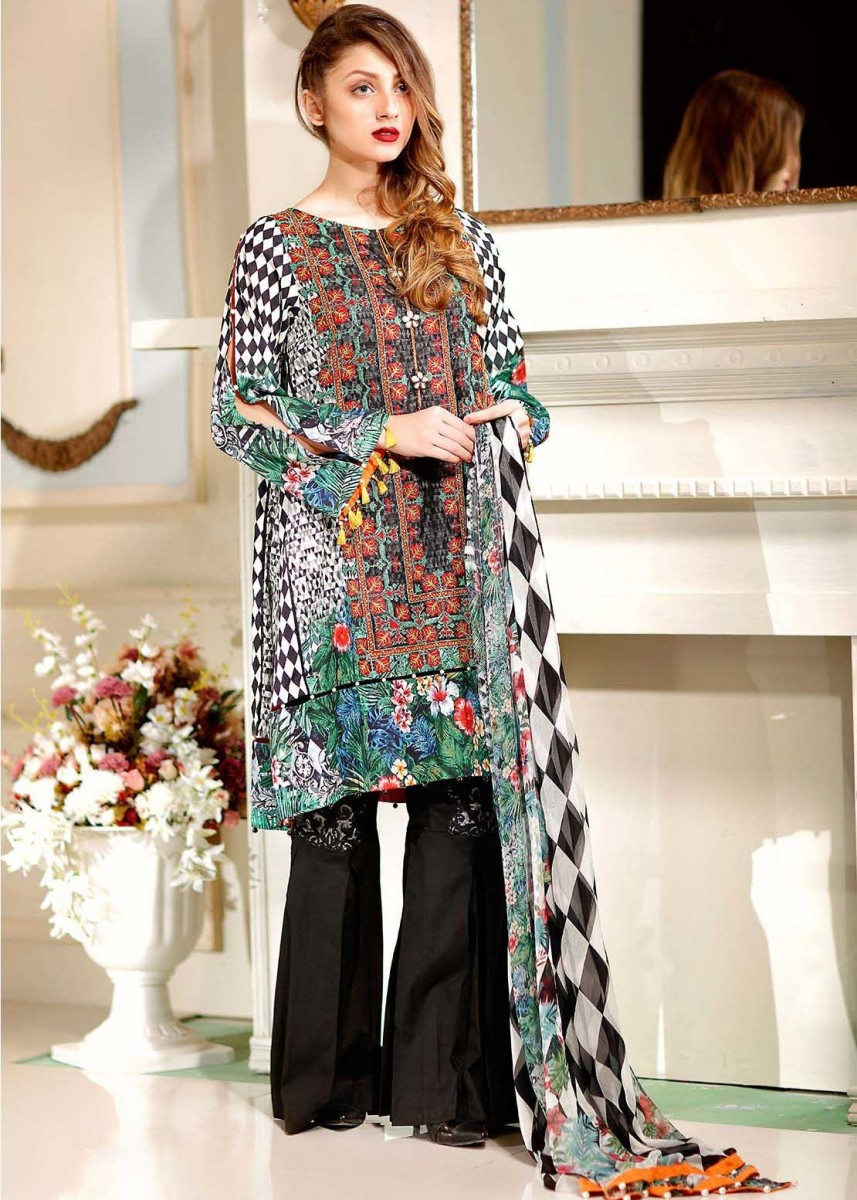 Warda Black Eid dress paired with Cambric Trouser with Embroidery Patch