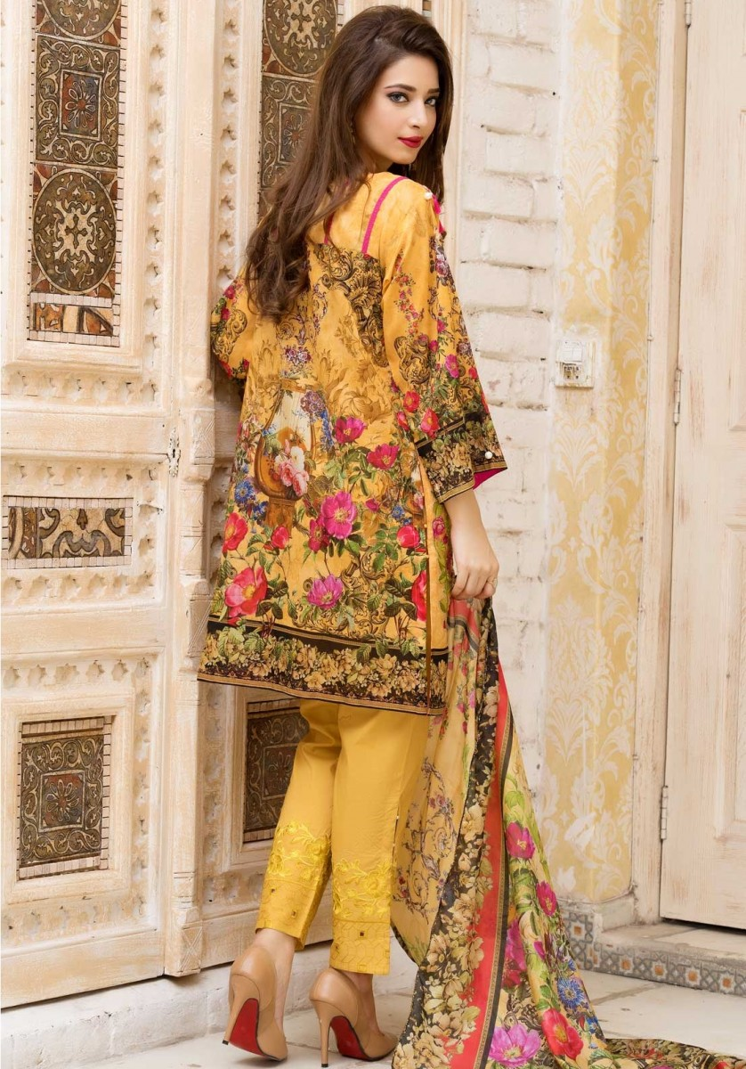 Indian Yellow printed Eid Dress by Warda