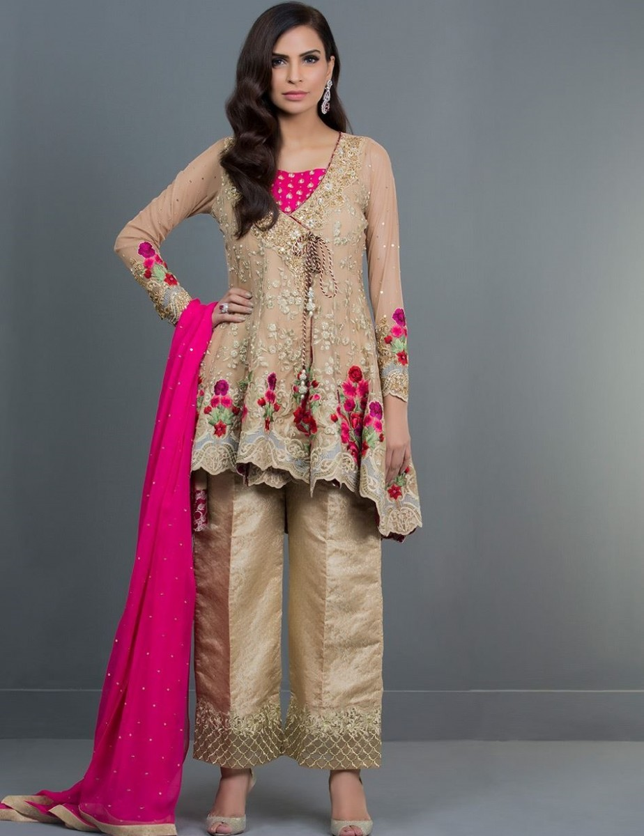 Formal Angrakha Style Eid Dress with kora dabka sequins paired with jamawar pants by Zainab Chottani