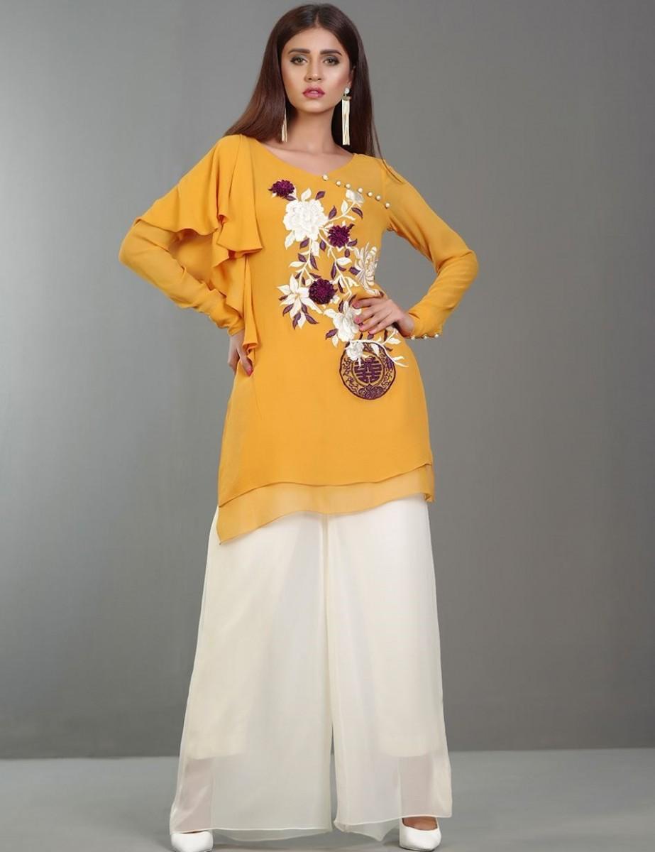 3D floral embroidered saffron chiffon Eid dress by Zainab Chottani