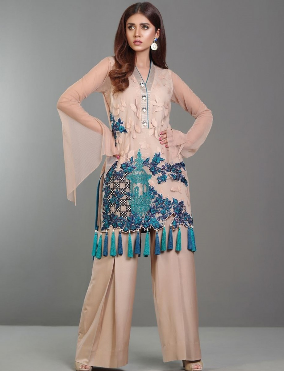 Zainab Chottani Coffee colored Eid dress with navy and teal embroidery on shirt daman with tassels