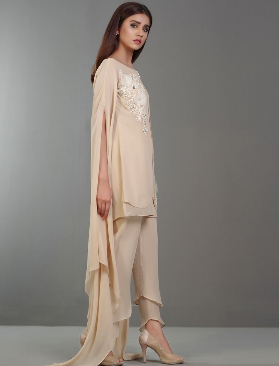SAND OPAL GLAZE chiffon eid dress with exaggerated sleeves