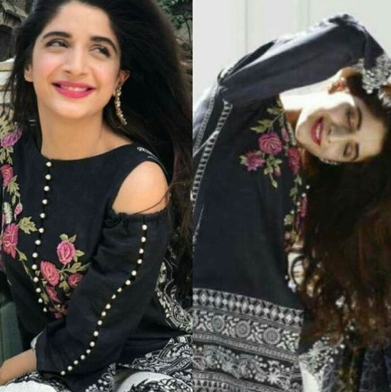 Mawra hocane wearing cut shoulder shirt