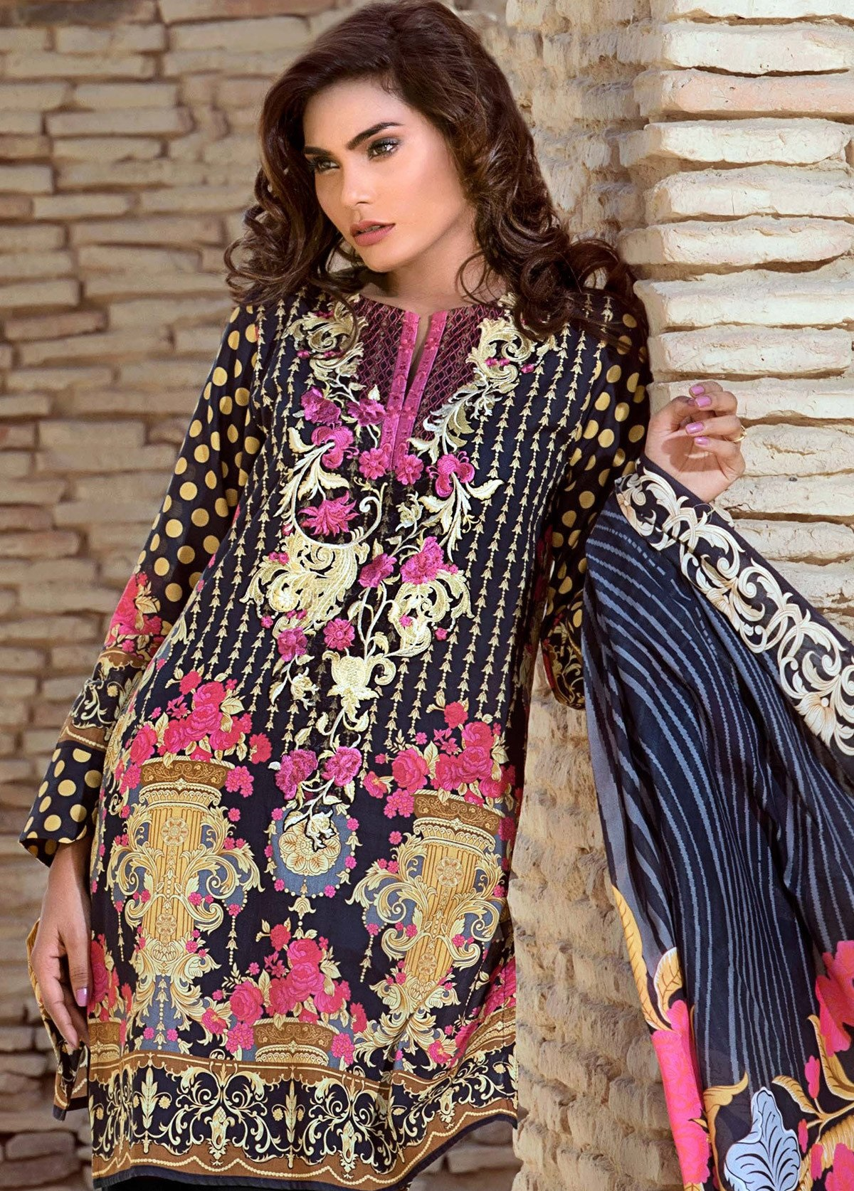 Gul Ahmed embroidered lawn eid dress