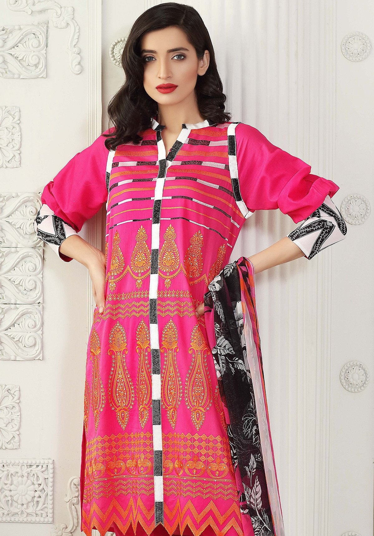 Gul Ahmed Shocking Pink Eid Outfit