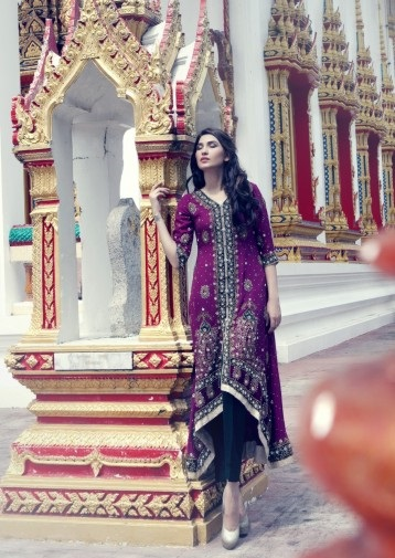 Purple Formal Embroidered dress by Mariam Bukhari