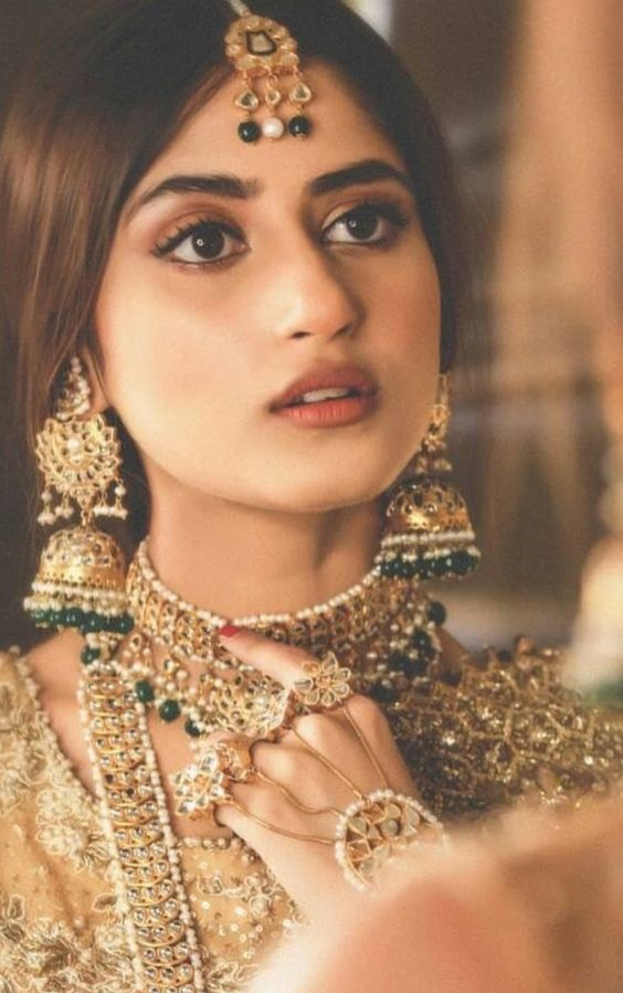 Sajal Ali wearing Filigree Bridal Jewelry