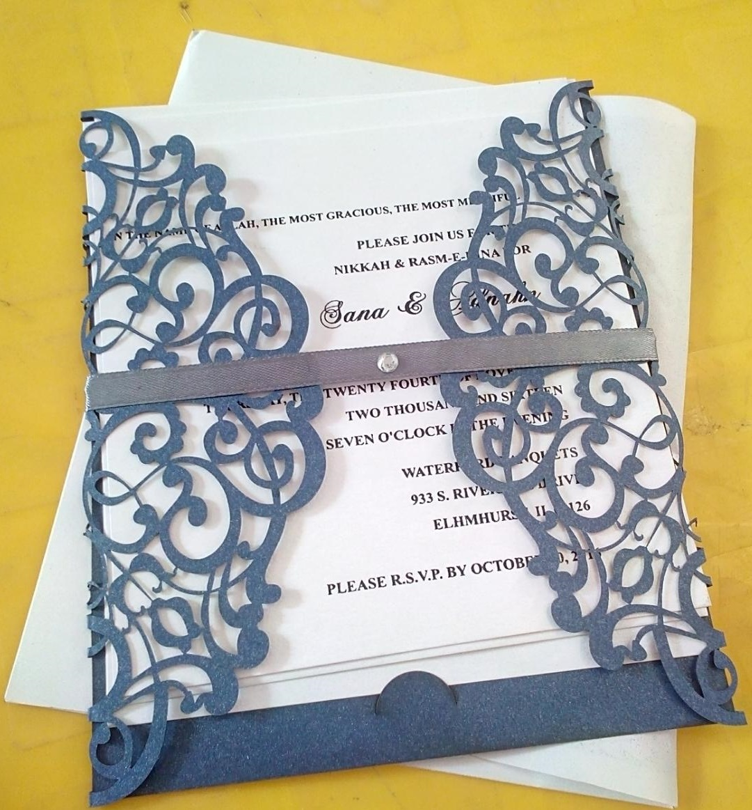 Blue and white invitation card for wedding