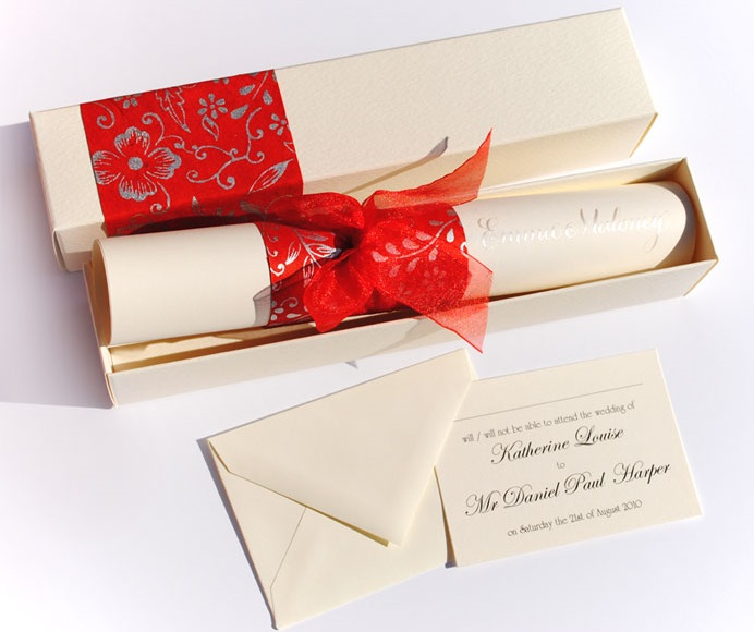 Off-white and red wedding card