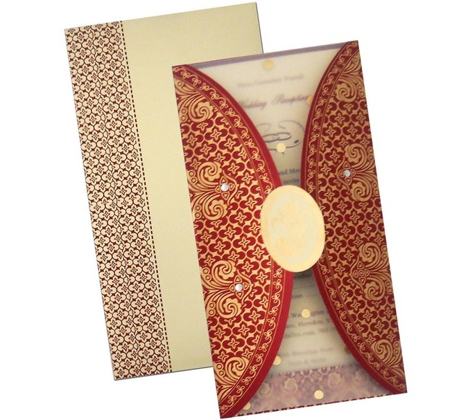 Wedding invitation card with red folds and splash of golden prints