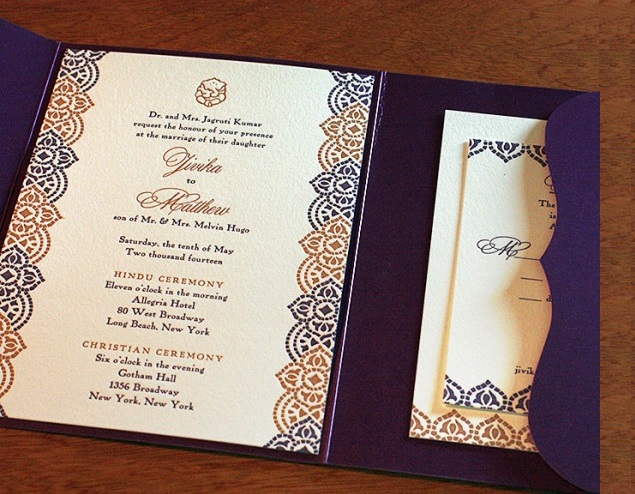 White and navy blue contrast of wedding invitaion card