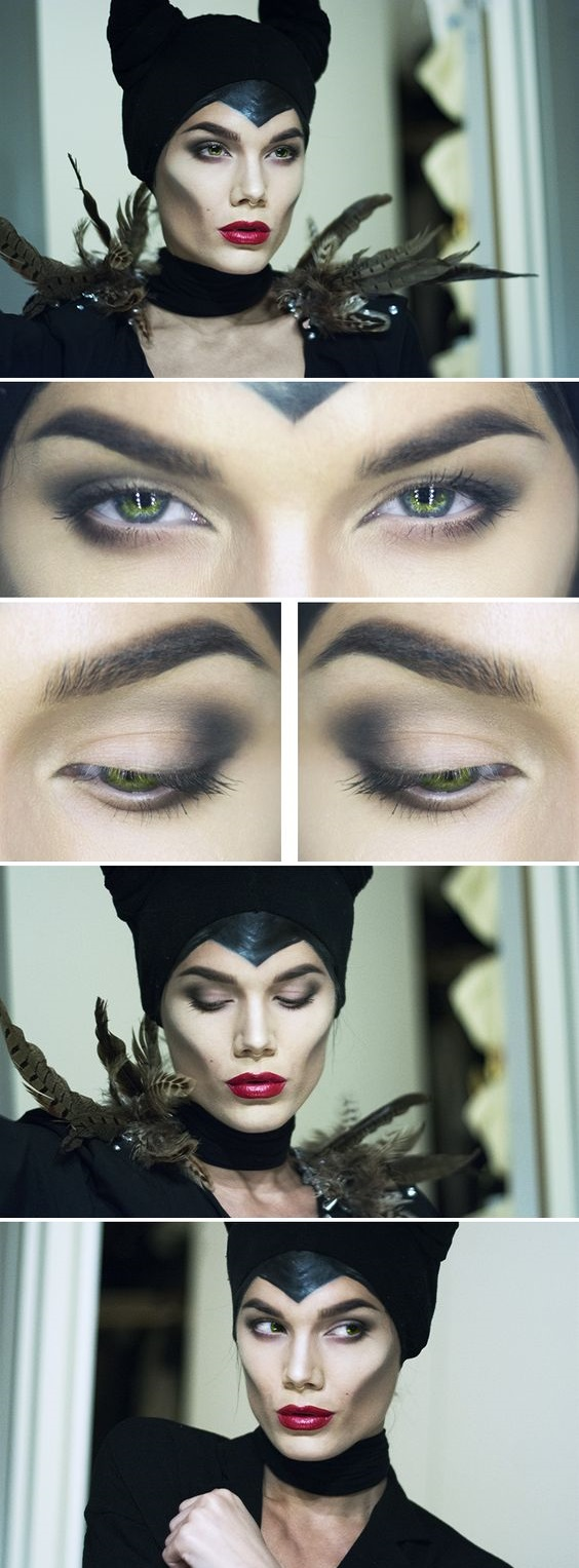 Maleficent makeup look for Halloween eve
