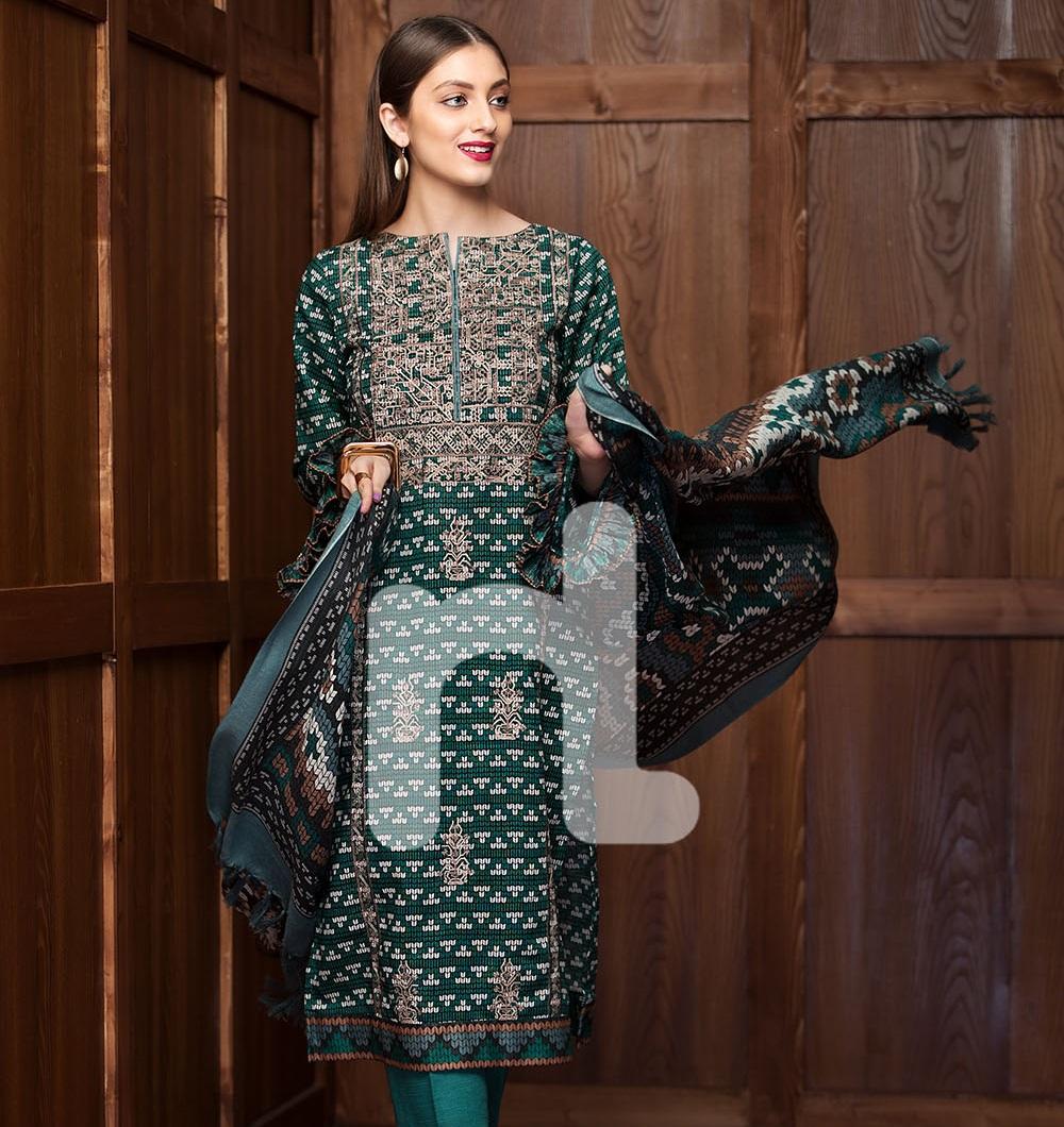 Nishat linen winter Mix Wool 3-piece dress