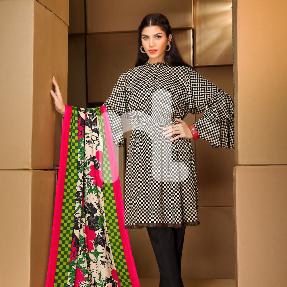 Nishat printed linen suit with colorful shawl