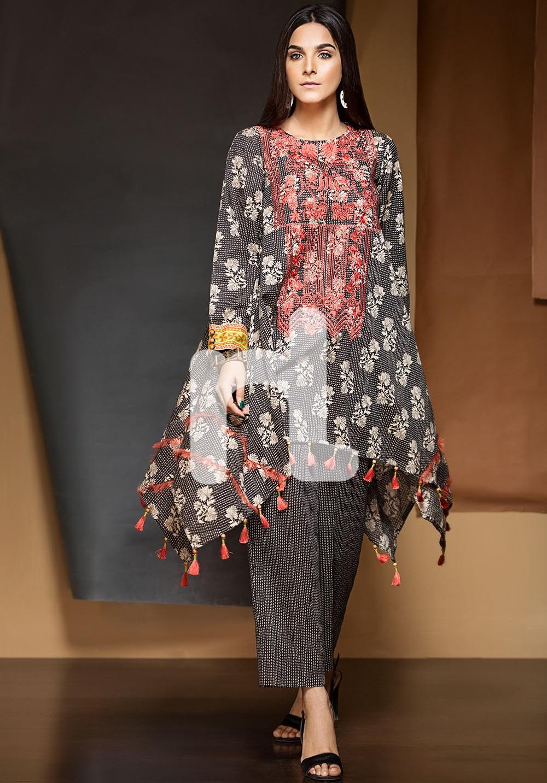 Nishat black embroidered Karandi Winter outfit