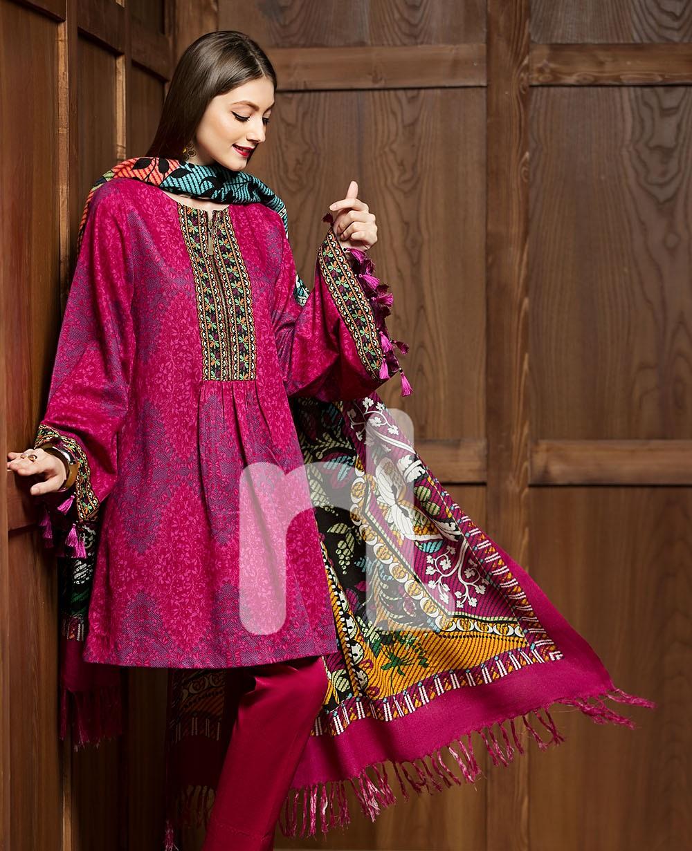 Nishat pink printed mix Wool Karandi suit