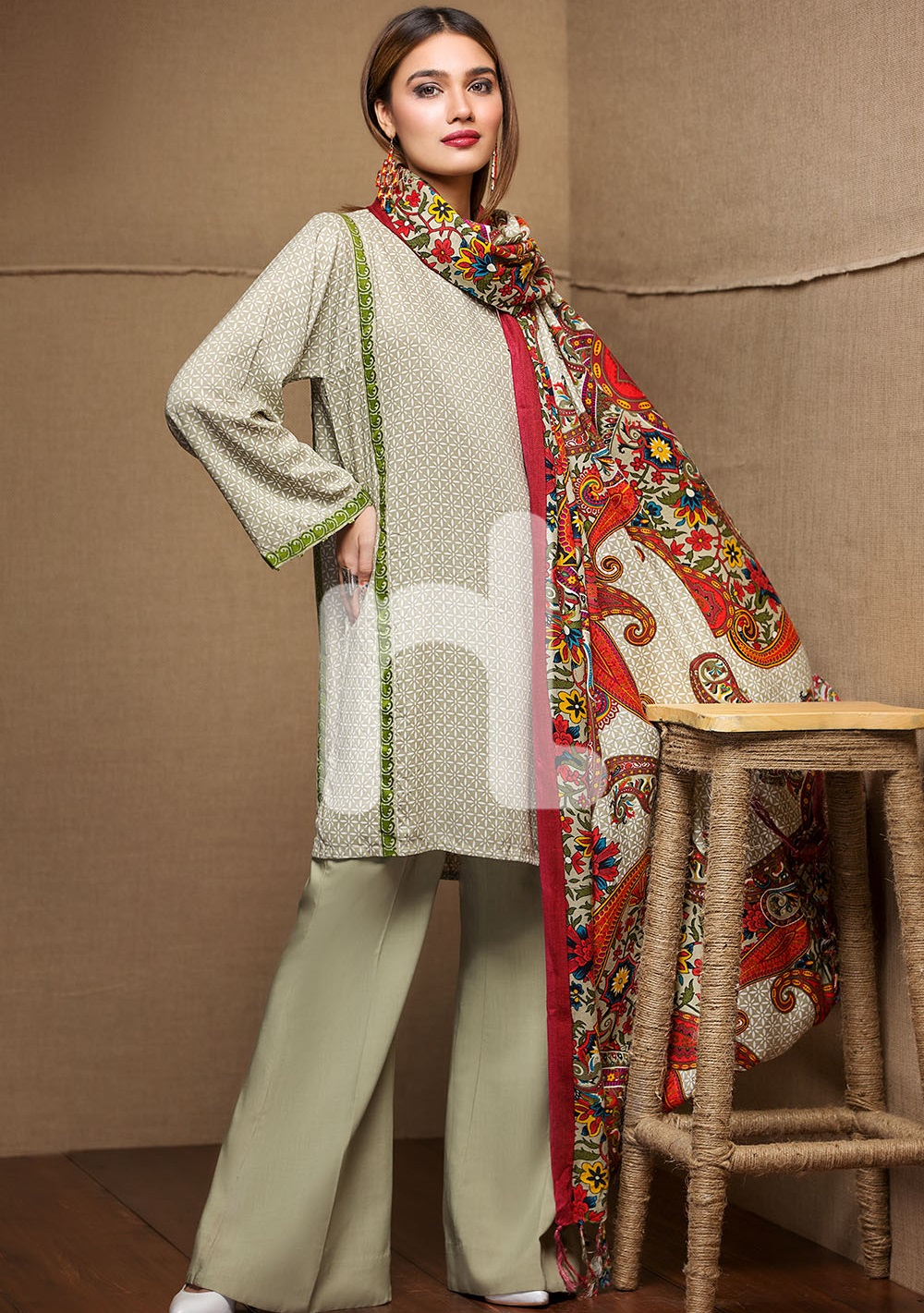 Printed linen winter dress by Nishat