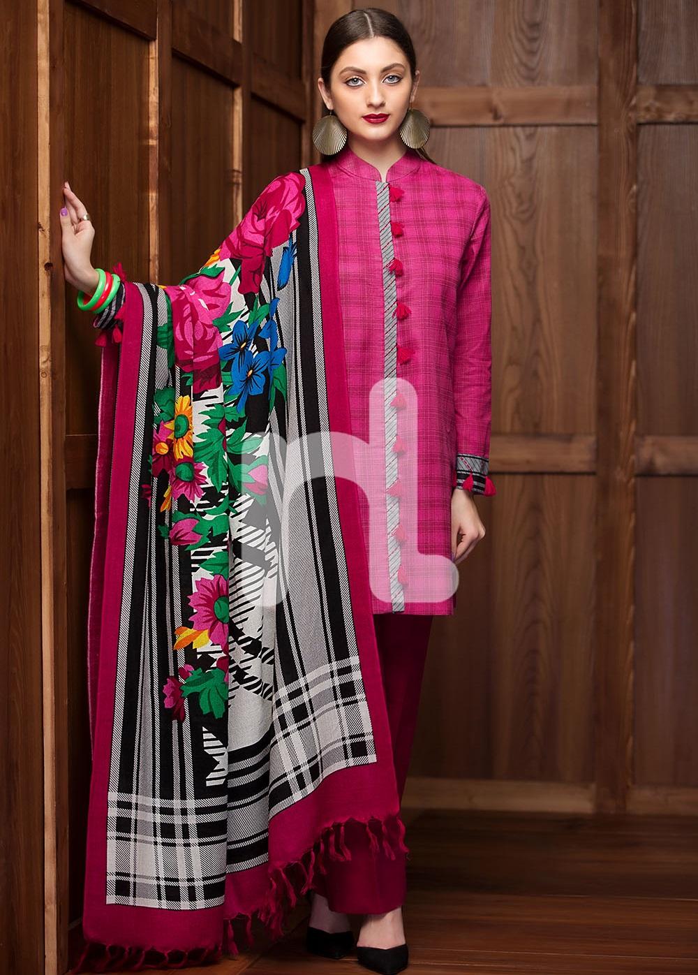 Nisha Nishat winter karandi suit with check pattern