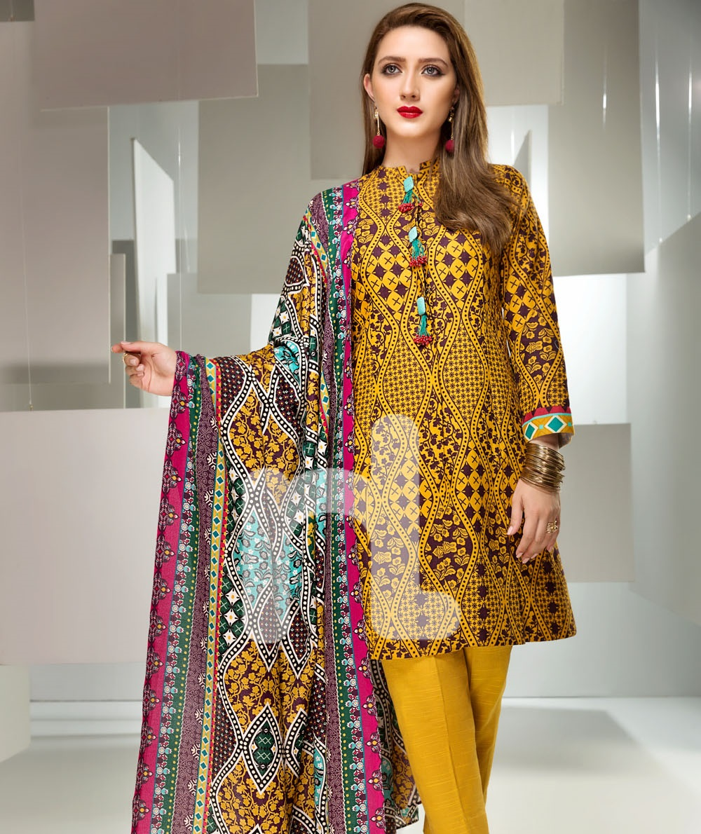 Printed khaddar yellow winter outfit by Nishat