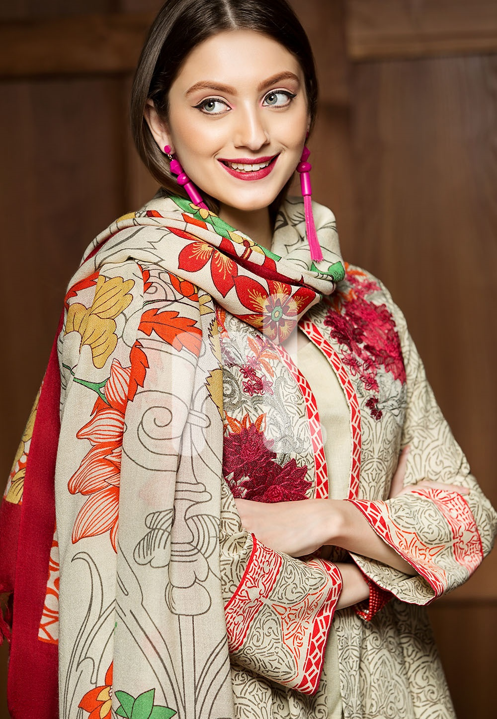 Beige colored embroidered mix woollen winter suit by nishat