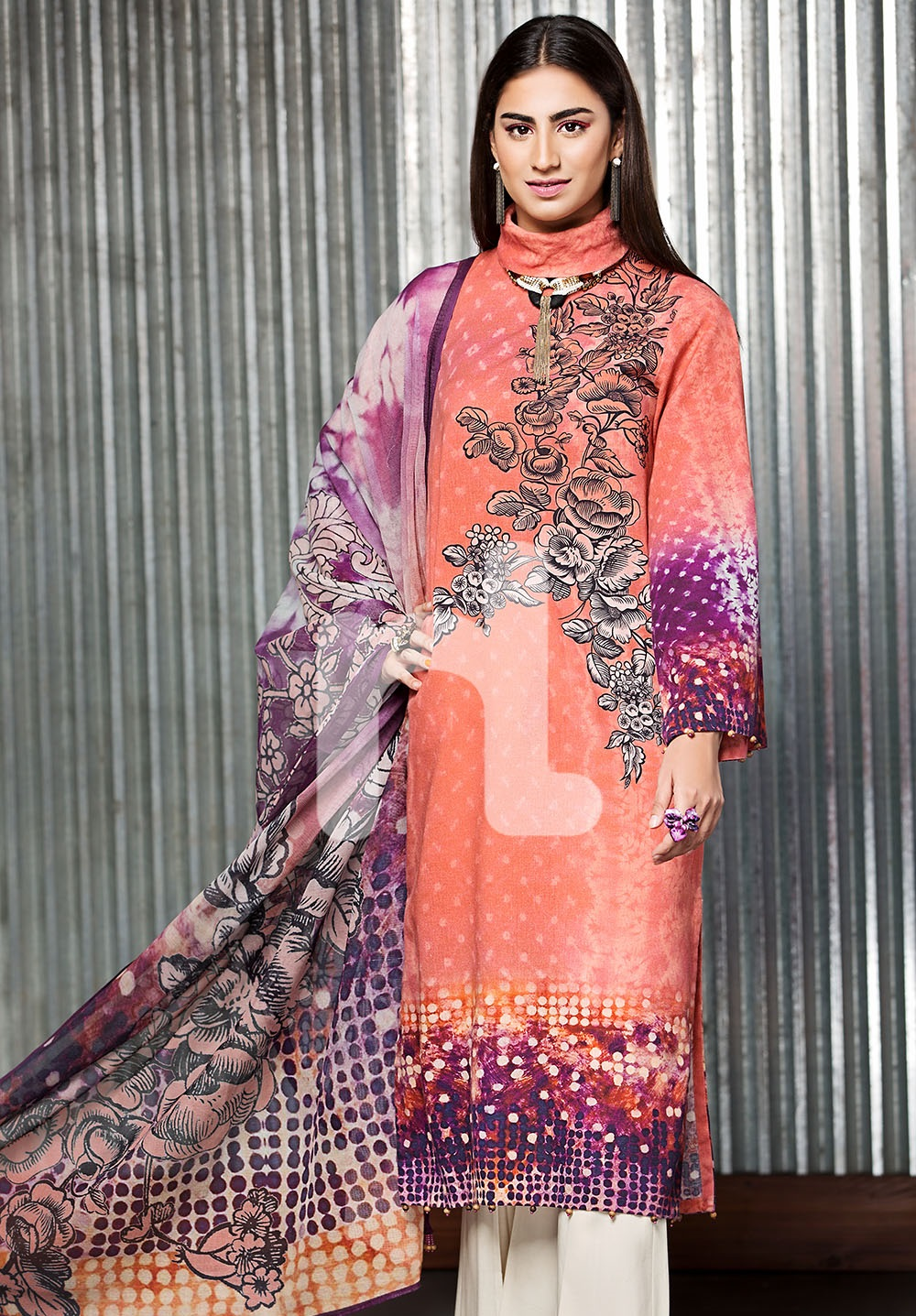 Nishat cotton net peach dress with purple contrast for winter