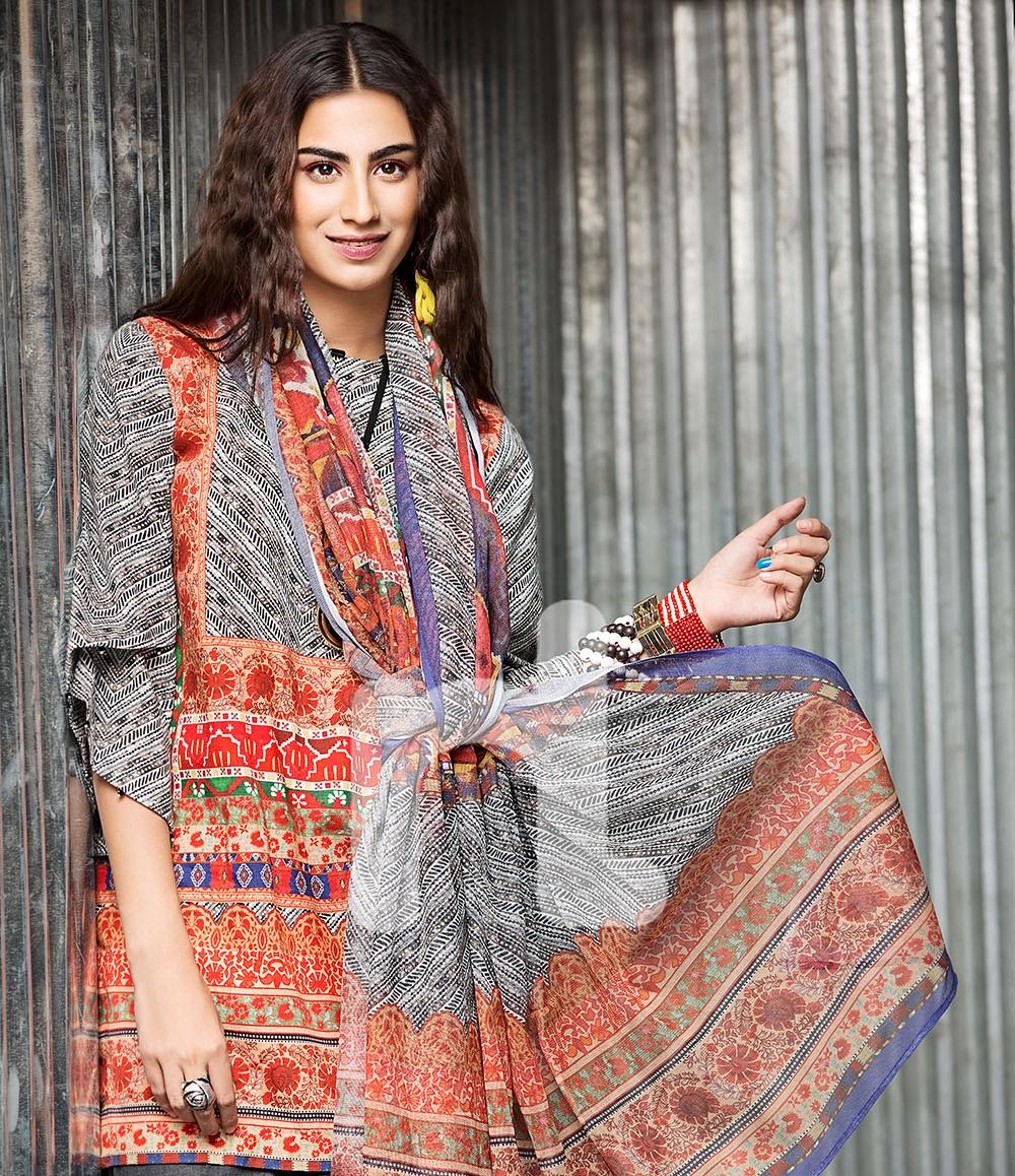 Nishat cotton karandi winter dress with cotton net dupatta