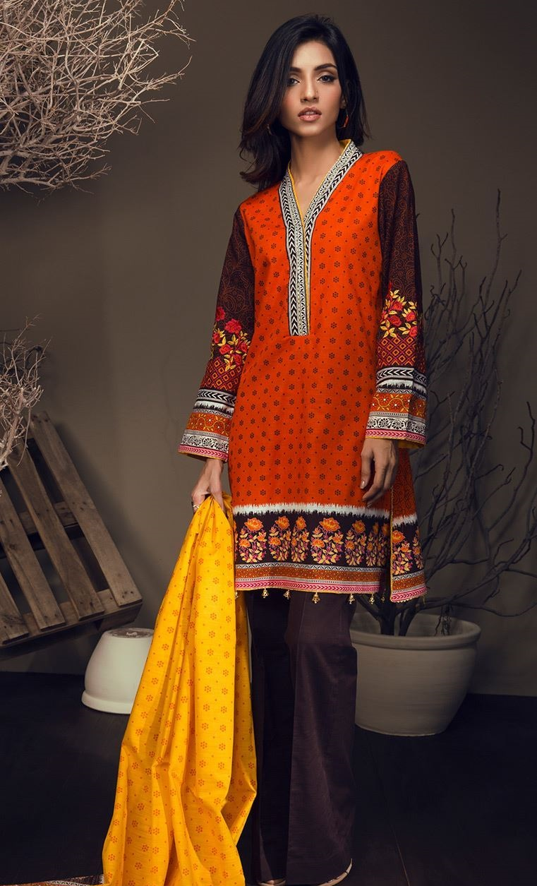 Brown and orange khaddar suit for winter season