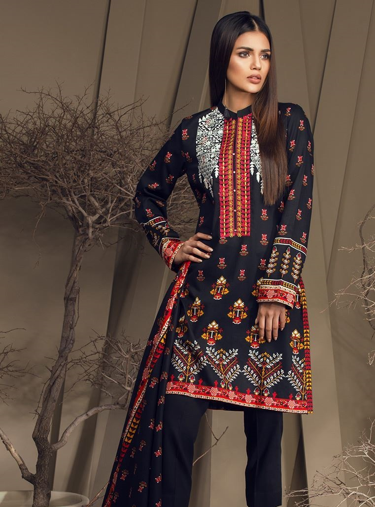 Black embroidered winter dress by Orient textiles
