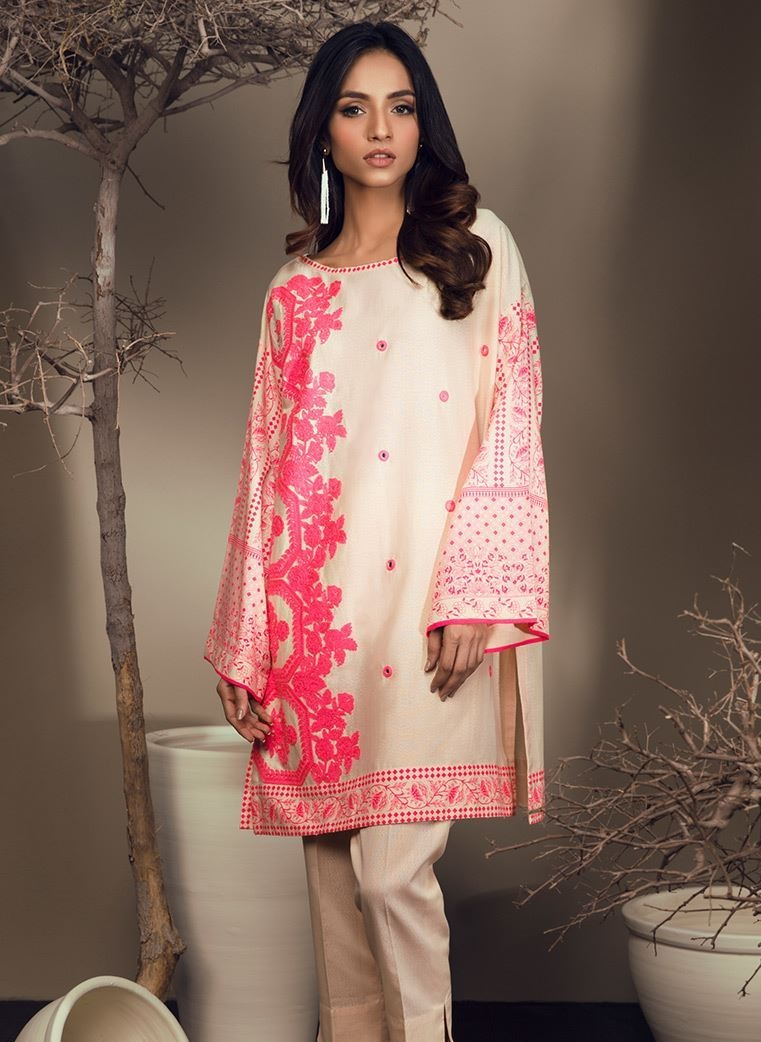 Beautiful embroidered skin winter shirt with pink embroidery by Orient Textile