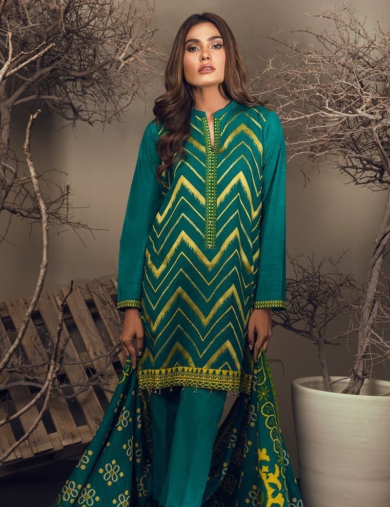 Orient Khaddar winter suit with extra printed borders