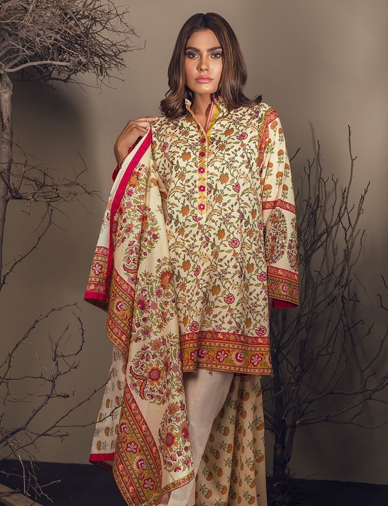 Simple printed winter dress by orient textile