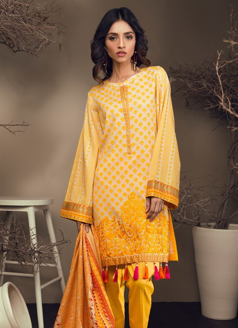 Embroidered yellow winter suit for women by Orient