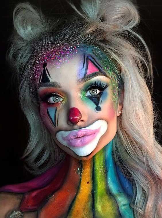 Funky rainbow clown makeup look for Halloween