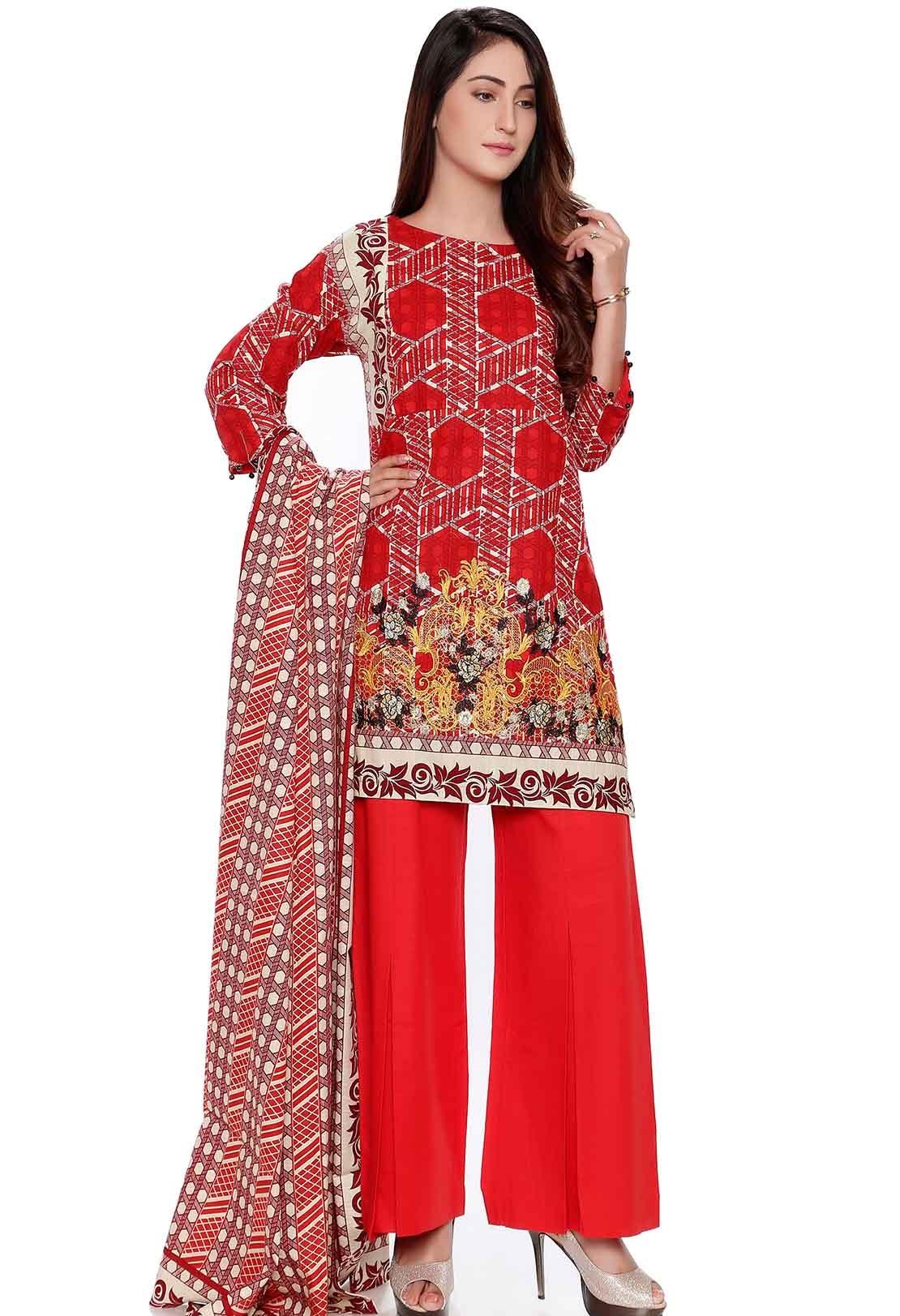 Fresh red khaddar winter suit by Warda