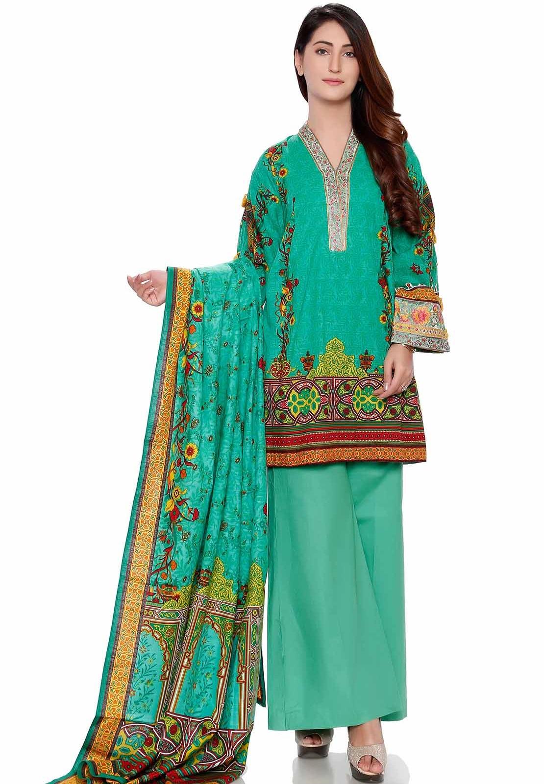 Warda sea-green stitched khaddar winter suit
