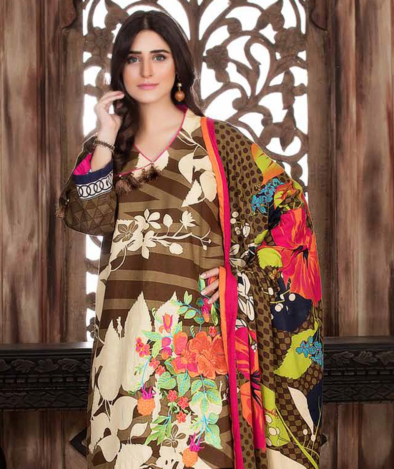Brown crown winter suit with colorful print by Charzima