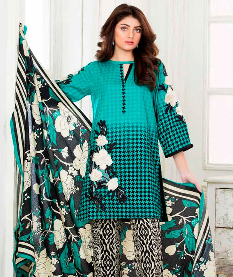 Ocean waves floral printed winter outfit for women