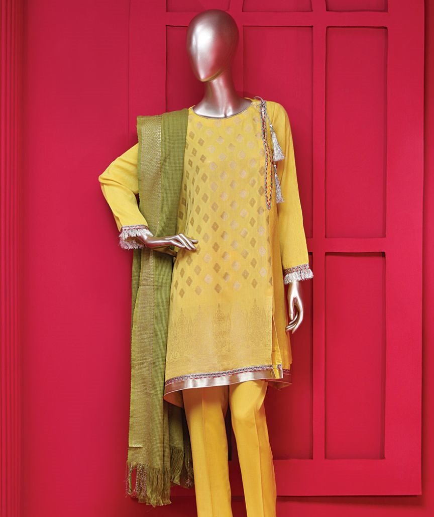 The sunshine yellow winter outfit by Junaid Jamshed