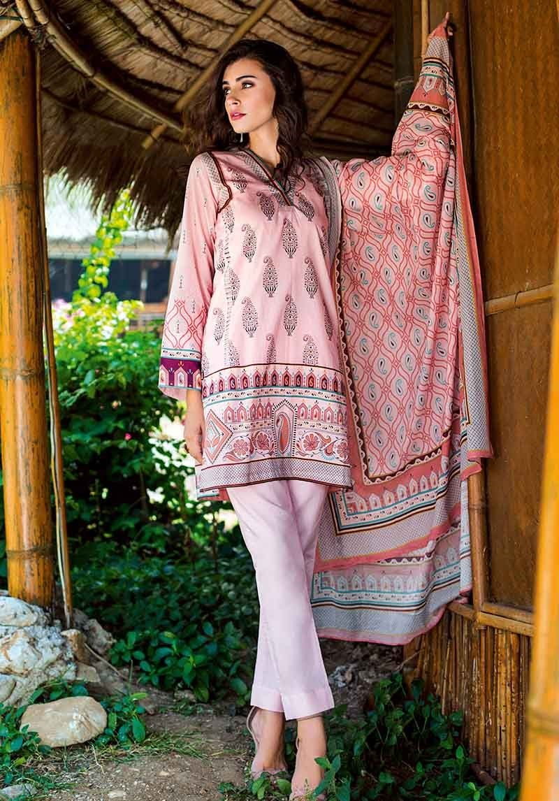 Pink 3 Piece Lawn Suit CL-459 B