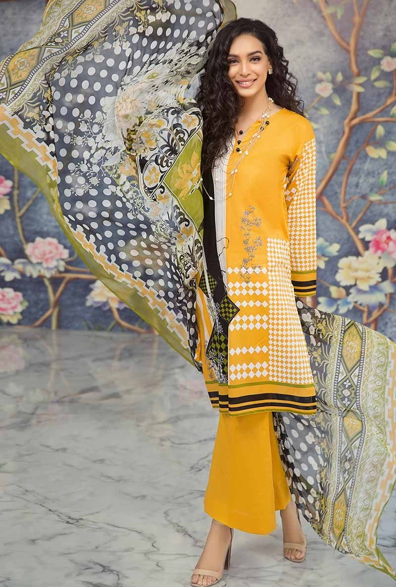Yellow 3 PC Lawn Suit C-253