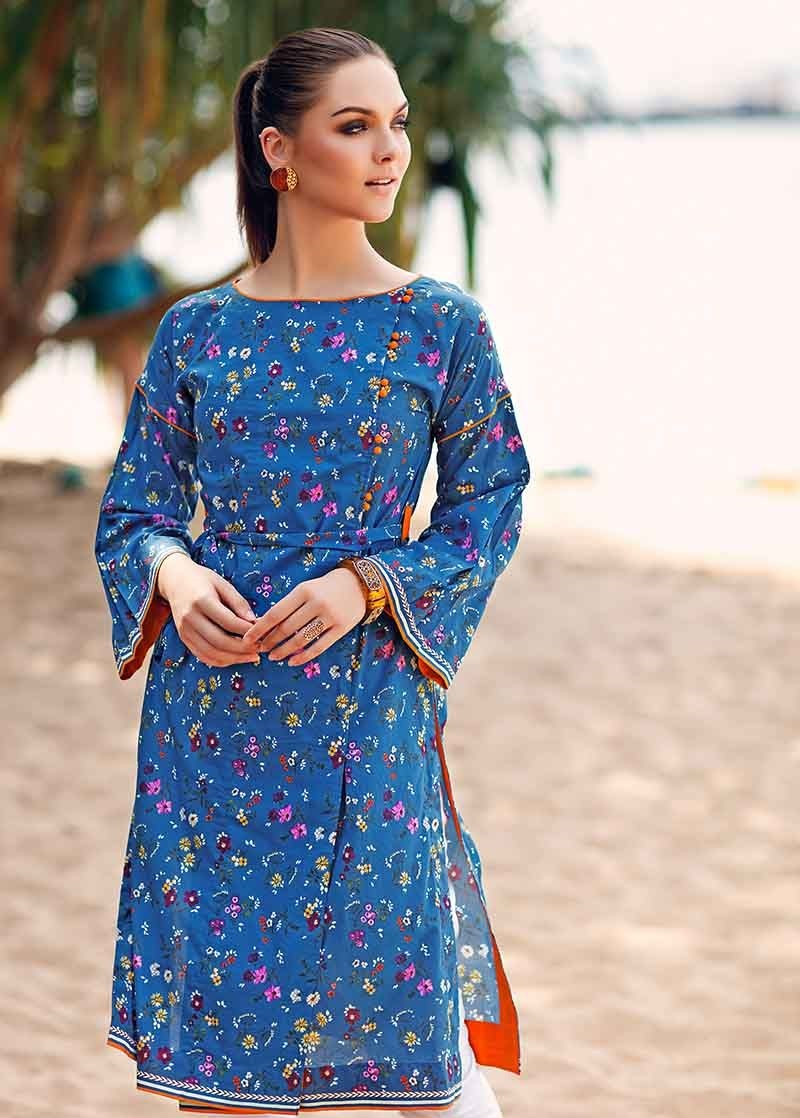 Blue One-Piece Lawn Shirt SL-615
