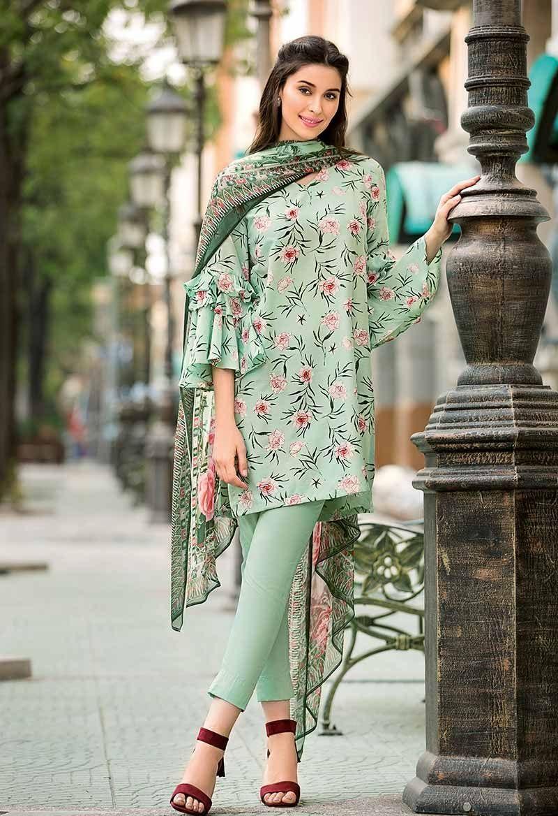 Green Floral Lawn Print