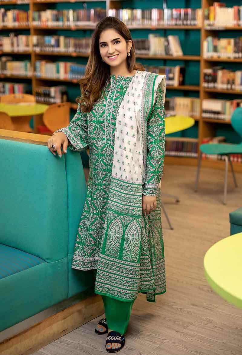 Green Three-Piece Lawn Suit CL-479 A