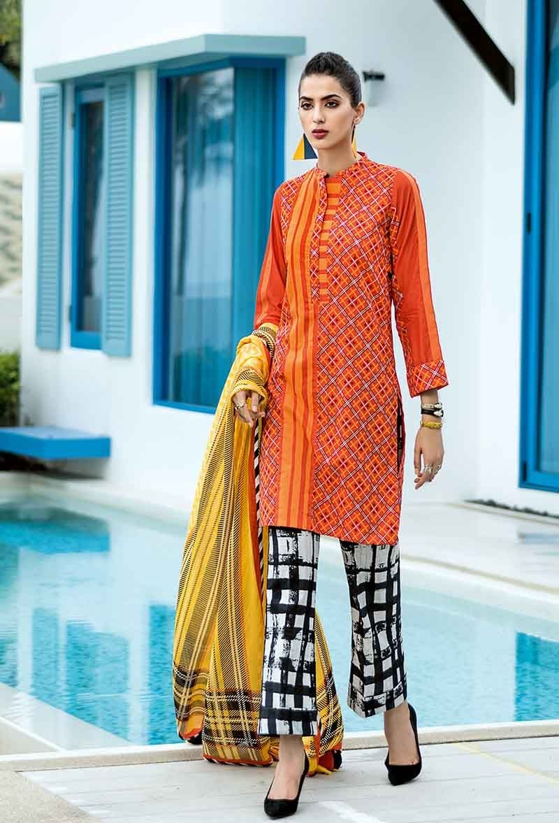 Orange 3 PC Lawn Suit CL-465