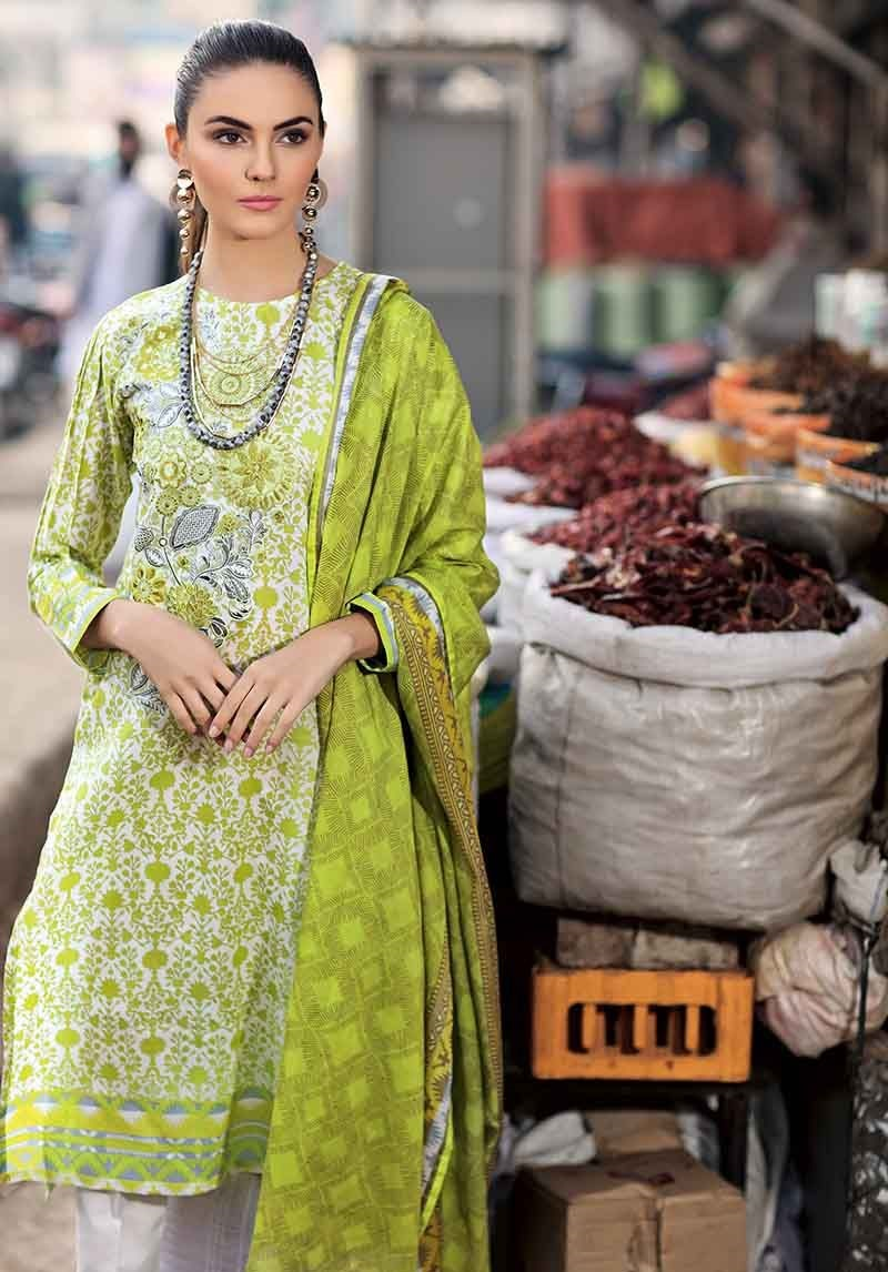 Leaf Green Two Piece Lawn Suit TL-211 B