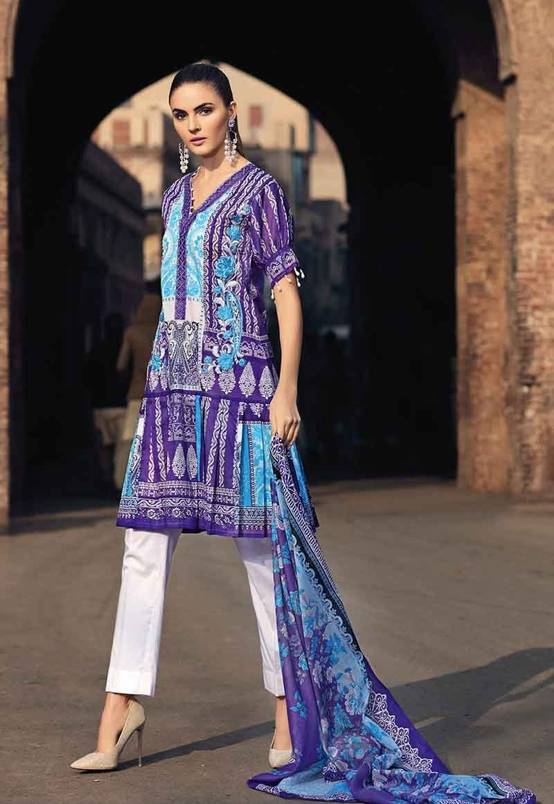 Purple Two-Piece Lawn Outfit TL-216 B