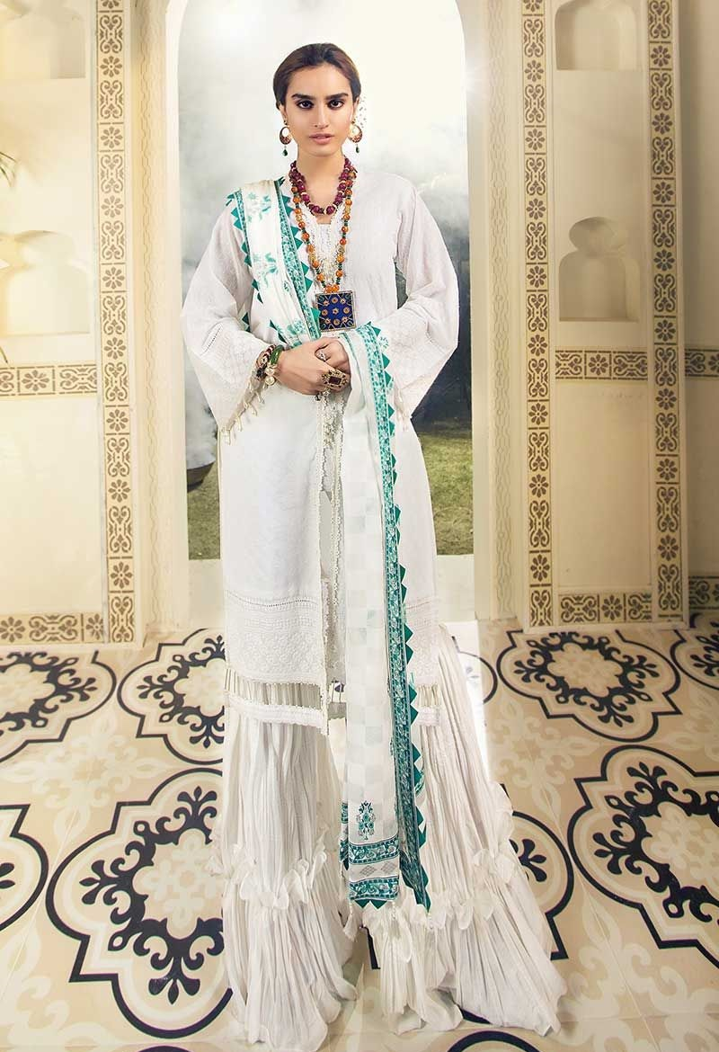White 3 PC Fancy Lawn Suit – LSV 04