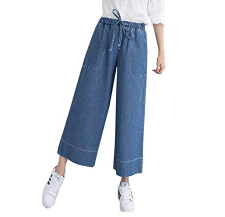 Wide-leg cropped denim pants trend